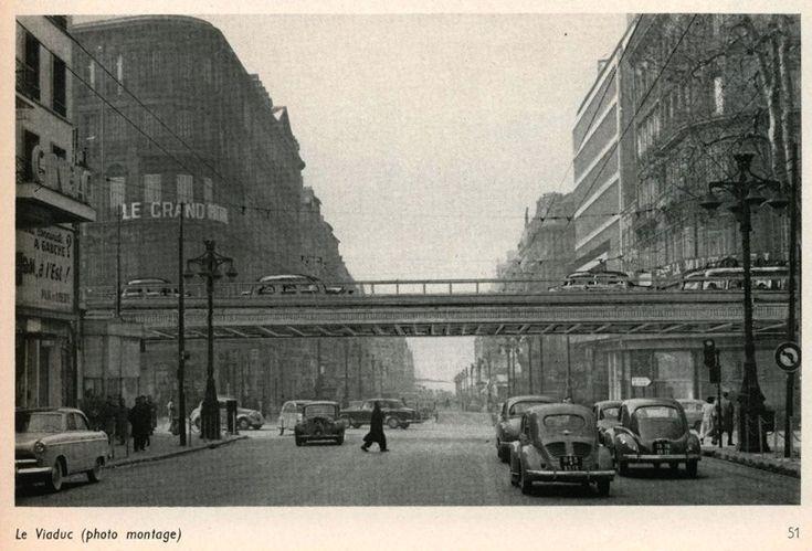 Projet viaduc Canebiere - 1967 - En 1967, la ville échappe de peu à un projet farfelu qui n'aurait pas vraiment été une réussite pour la Canebière. Celui de réaliser un viaduc au-dessus de la voie pour relier directement le boulevard Garibaldi à Dugommier, devant l'actuel hôtel de Police.