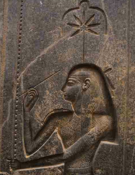 Seshat's emblem on a temple wall in Luxor dates from around 1250 BCE. It shows the seven-part leaf of the hemp plant used to make Seshat's surveying rope.