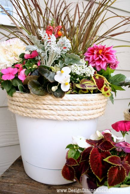 add rope to pots to make all the ugly plastic pots prettier outdoor pots - Outdoor Flower Pots