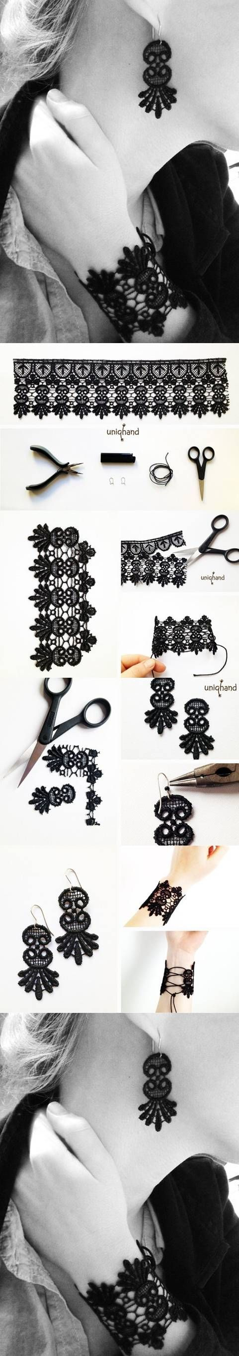 DIY Lace Bracelet and Earrings