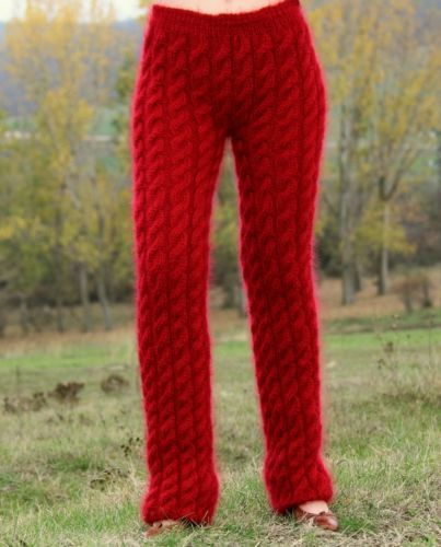 New hand knitted mohair pants EXTRA THICK FUZZY RED soft leg warmers SUPERTANYA