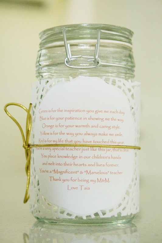 Great Idea for DIY small Christmas Gift - Buy some cheap glass jars, fill with sweets or chocolates and find a poem to attach to the front with a ribbon around it! I like this poem - Chocolate kisses and ice cream wishes.   Lemon drops and soda pops.   Jelly beans and sugar-filled dreams.   Lollipops and candy shops.  Sugar is yummy in every way,   and adds to my sweetness every day!