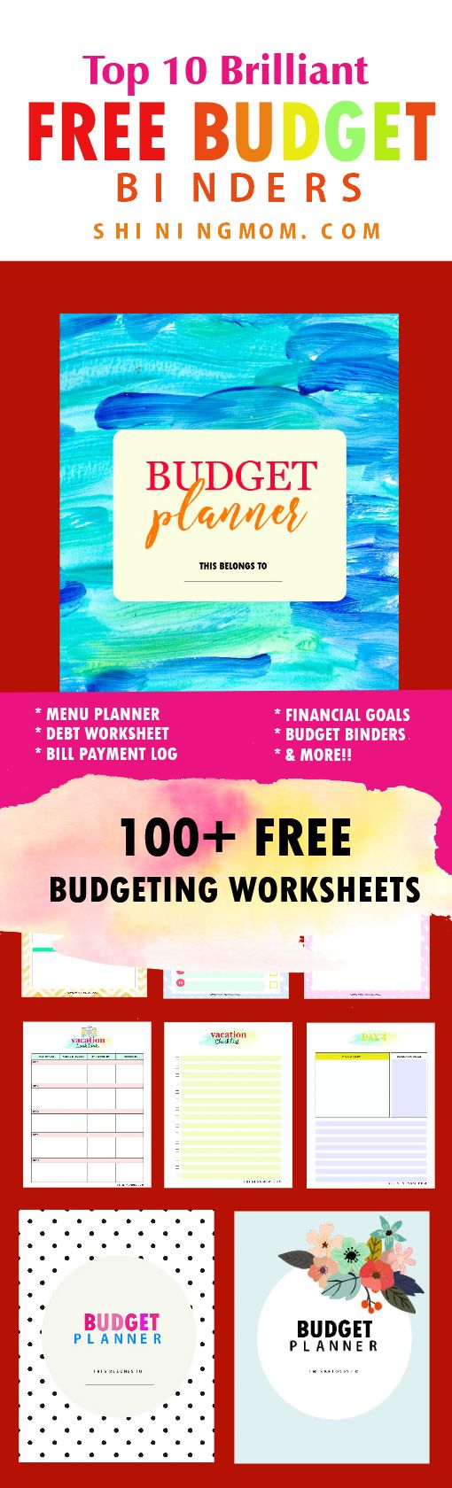 Use these free budget printables to start increasing your savings and investment! They're brilliant! #budgetbinder #financialplanner