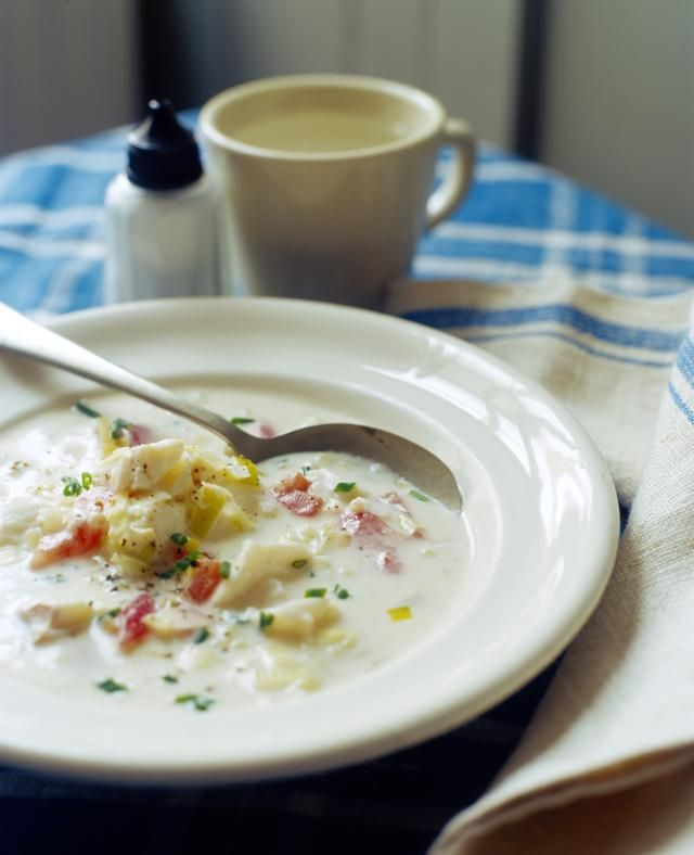 This is a top-rated fish chowder recipe with haddock or cod, seasonings, butter, potatoes, and carrots, along with onion and other ingredients.