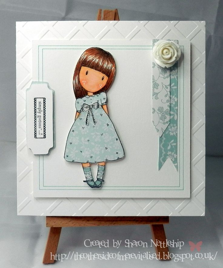 """Using Gorjuss stamp """"The black star"""" and papermania eau de nil papers."""