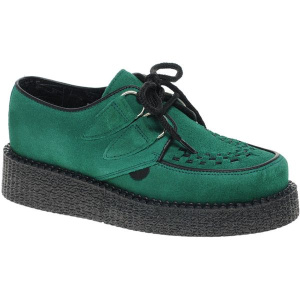 Underground Wulfrun Green Suede Creepers ($152) found on Polyvore