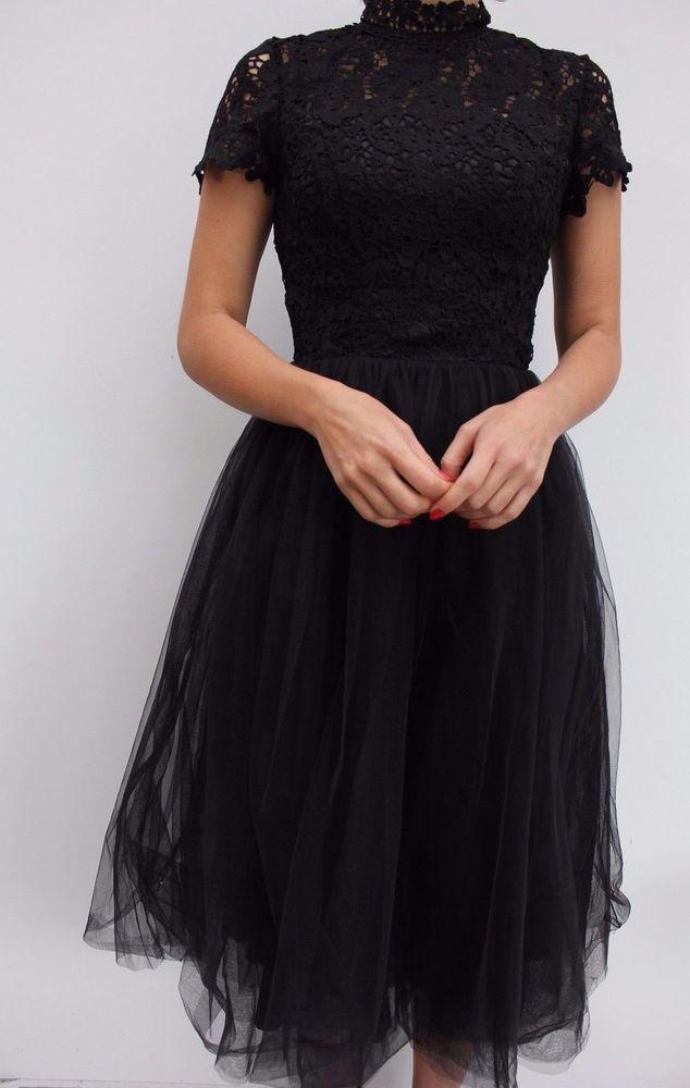 3bd86beb6bf2 Chi Chi London Black Tulle Skirt High Neck Lace Midi Evening Dress 6 34 US  2 New #ChiChiLondon #BallgownPromDress #Party
