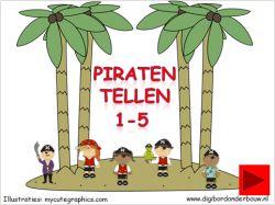 Digibordles piraten tellen 1 tot en met 5. Tel de piraten op het eiland en tel de kanonskogels op digibordonderbouw.nl http://digibordonderbouw.nl/index.php/rekenen1/tellen-1-5