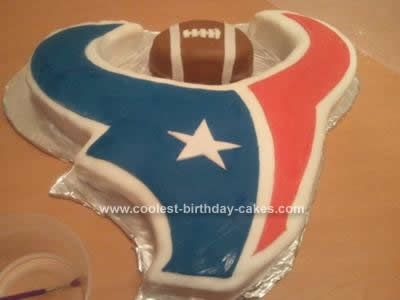 Homemade Houston Texans Football Cake Design: This Homemade Houston Texans Football Cake Design is my second attempt at a fondant covered cake. My first cake was for my son's birthday and it was a