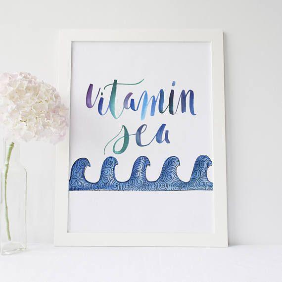 Vitamin Sea Print Surfer Decor Surfing Wall Art Beach Quote