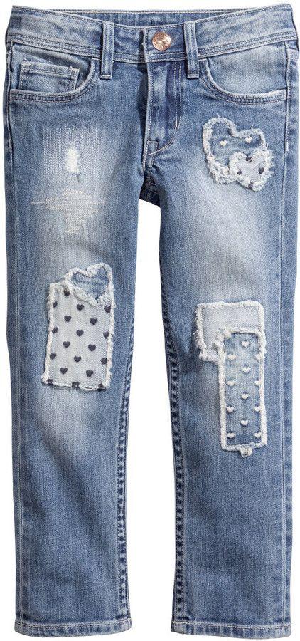 Patchwork Slim Jeans   H&M