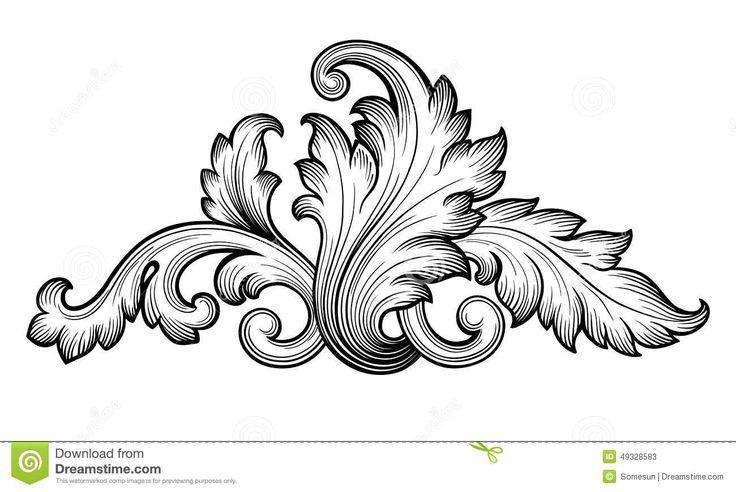 Vintage Baroque Floral Scroll Set Ornament Vector Stock Vector ...