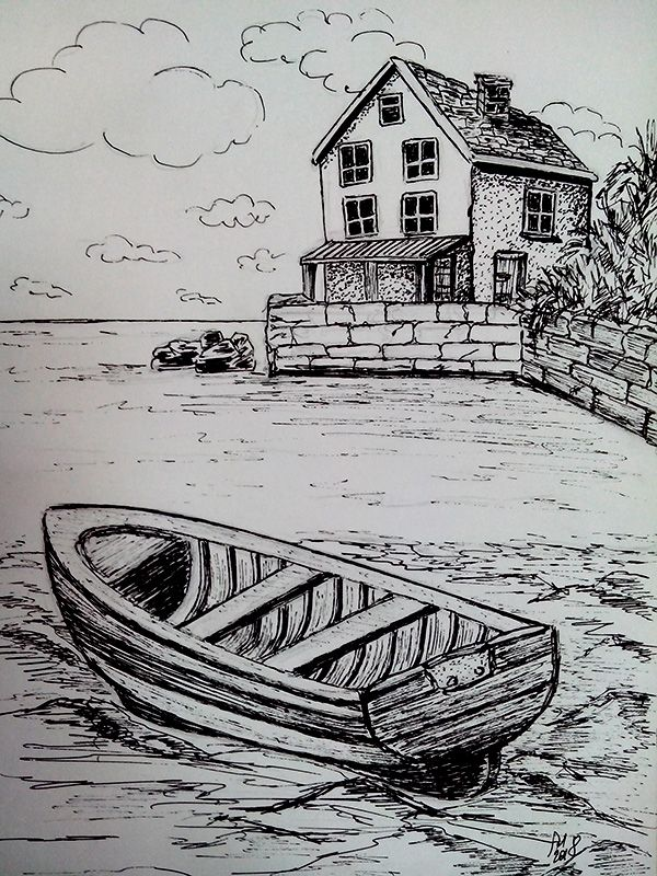 A Boat Near The Old Pier Drawing Scenery Landscape Pencil Drawings Pencil Art Drawings