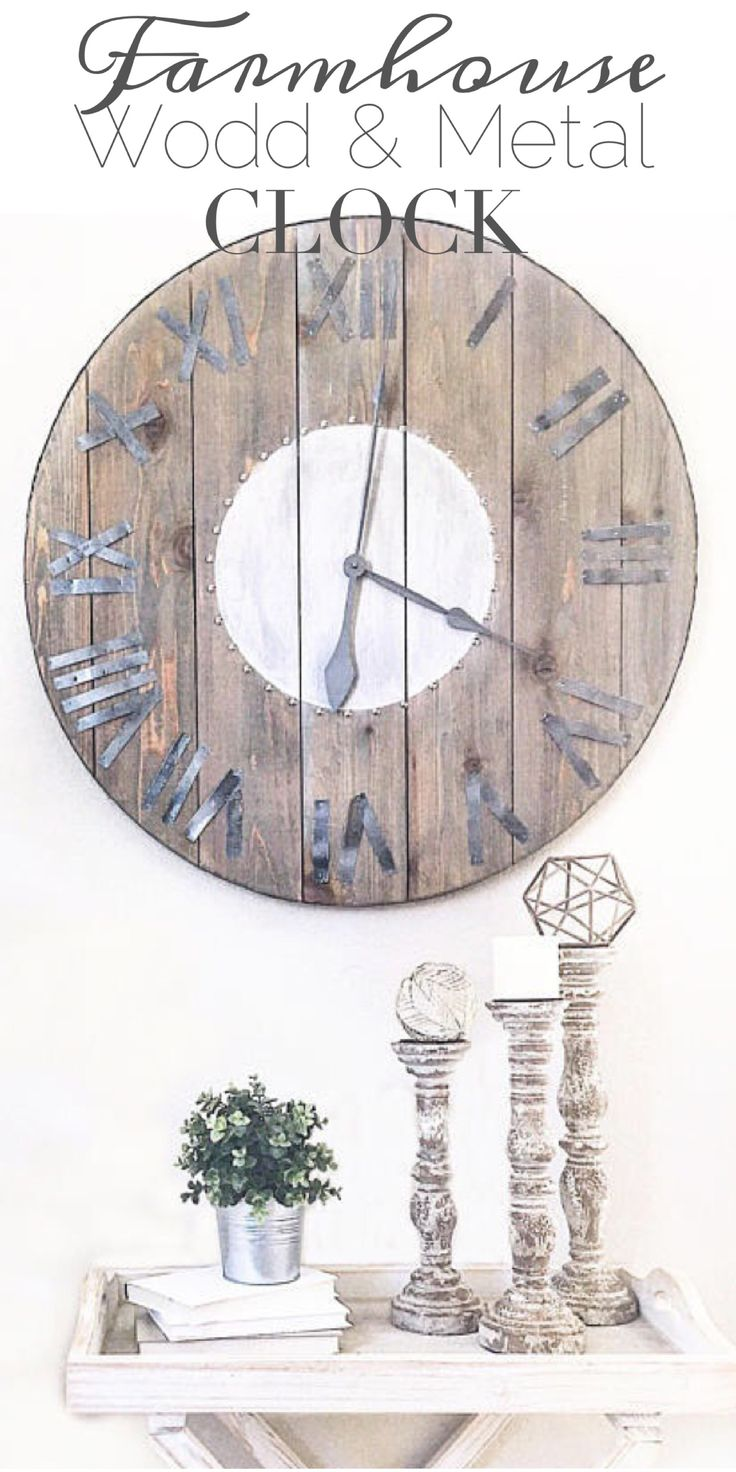 Fabulous Big Farmhouse Wood and Metal Clock. #ad This is just simply amazing! Would be great in any room in the house! Rustic and beautiful! #farmhouse #farmhousestyle #farmhousedecor #rustic #rusticdecor #homedecor #clock