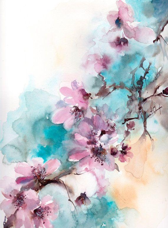 Flores de acuarela original pintura arte de la por CanotStop