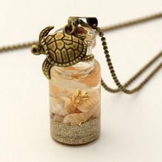 Pendentif fiole en verre plage dorée, pendentif bouteille en verre, vial…