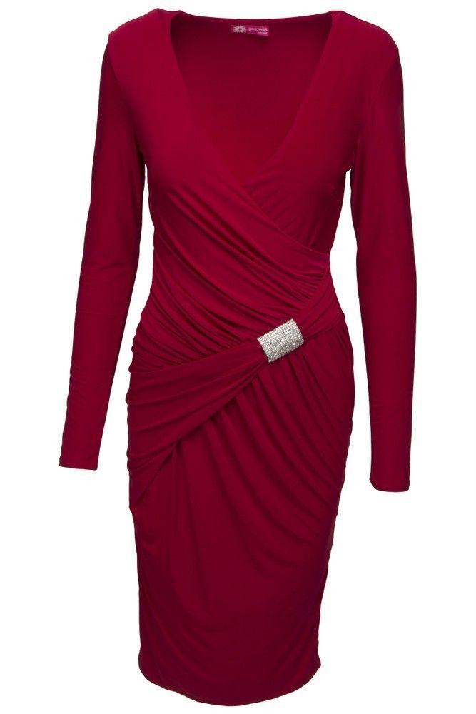 1a7c92e1d469 Goddess rød kjole med diamantspænde