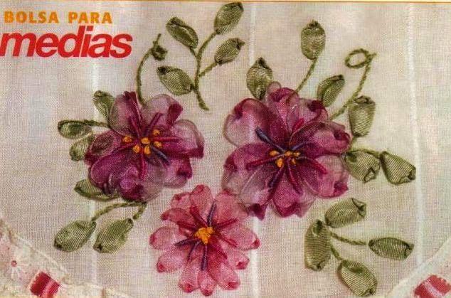 Resultado de imagen de bordado con cintas de seda