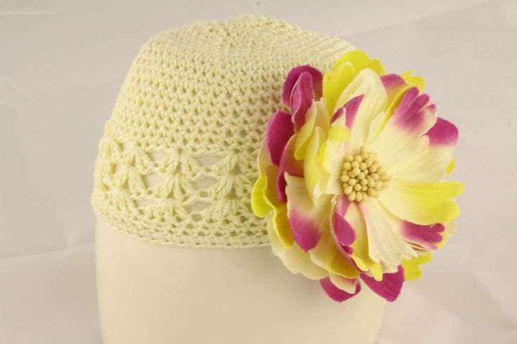 Cream Knit Hat with Multi-Coloured Flower