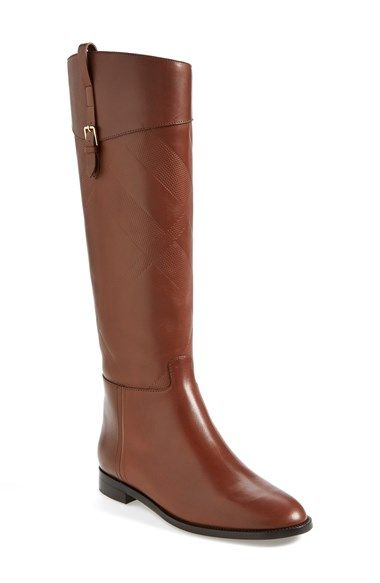 Free shipping and returns on Burberry 'Copse' Riding Boot (Women) at Nordstrom.com. Signature style shows elegant restraint on this leather riding boot thanks to embossed checks on the shaft and a small logo plate at the heel.