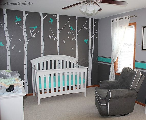 Tree Wall Decals Nursery Wall Decals Office Wall Murals - Six Big Birch Trees with Flying birds
