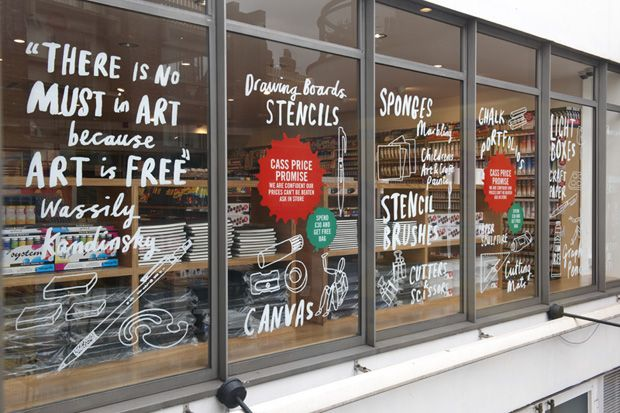 hand painted store window