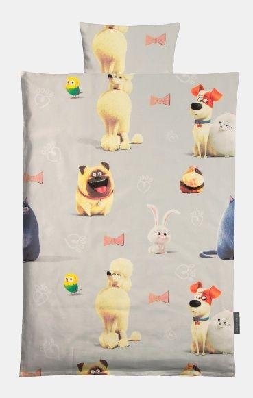 Cotton grey with Secret Life of Pets print. DIY linen for children!