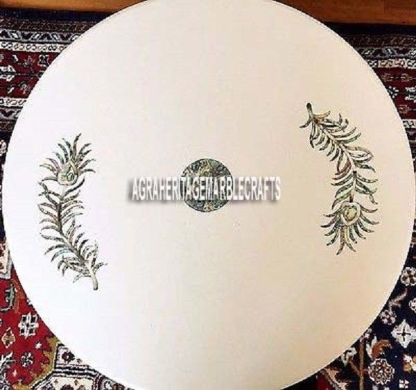 36'' White Marble Dining Table Top Inlaid Arts Marquetry Furniture Kitchen Decor #AgraHeritageMarbleCrafts #ArtsCraftsMissionStyle #WhiteDiningTable #RoundDiningTable #ExclusiveTable #InlayArt #KitchenDecor #MarquetryStones #GivingTuesdayDecor #DecorativeTable