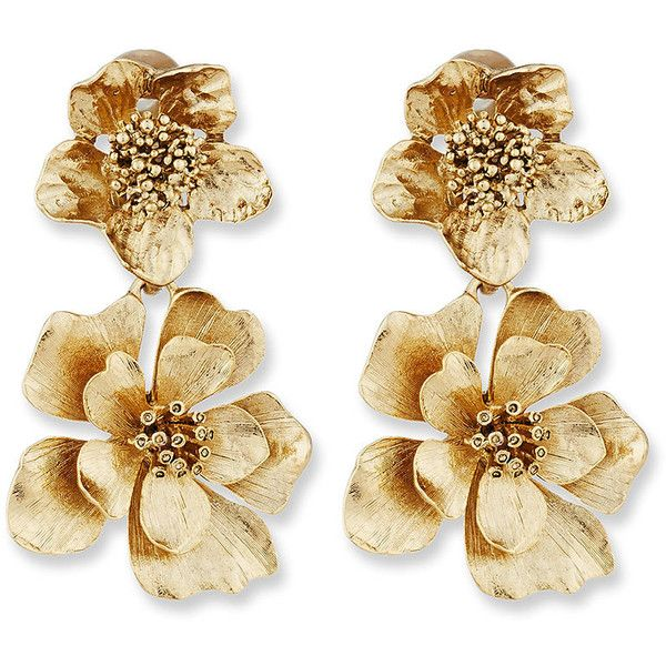 Oscar De La Renta Bold Flower Drop Earrings (£195) ❤ liked on Polyvore featuring jewelry, earrings, gold, oscar de la renta earrings, blossom jewelry, floral jewelry, flower jewellery and golden earring