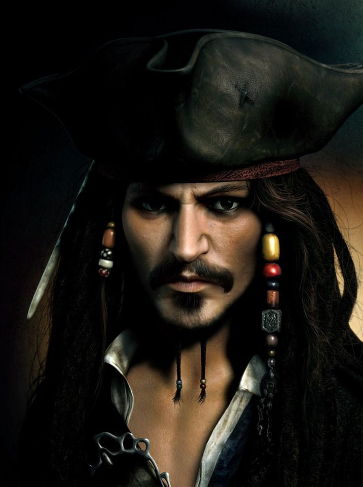 This 3D artist did a great job on this image! I love Johnny Depp as Captain Jack Sparrow!    https://jprart.deviantart.com/art/Captain-Jack-Sparrow-37044292