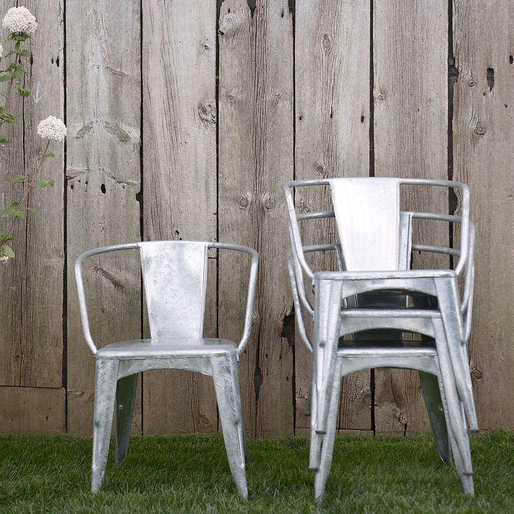 Zinc cafe chairs for the rooftop