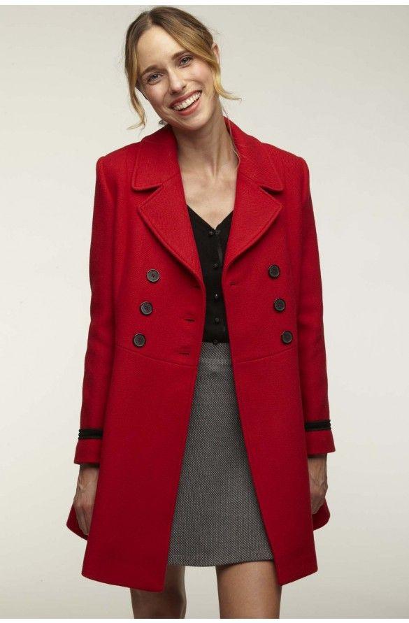 NAF NAF Wollmantel klassischer Mantel rosa