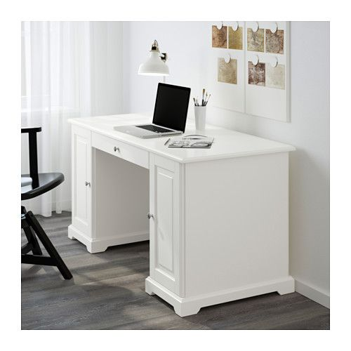 IKEA - LIATORP, Desk, white, , You can fit a computer in the cabinet since the shelf is adjustable.Drawer stops prevent the drawers from being pulled out too far.Can be placed anywhere in the room because the back is finished.