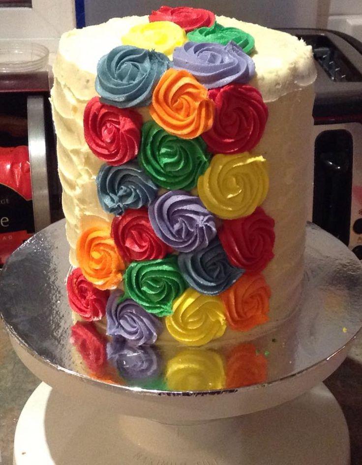 1st Birthday Rainbow Themed Smash Cake decorated by Coast Cakes Ltd