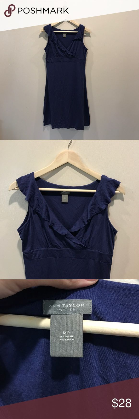 """Ann Taylor Petite Blue dress Size Medium Beautiful preloved Ann Taylor Dress. This dress is in Excellent Condition and a Petite Size Medium. It is free of holes, rips, and stains. Pit to Pit is 17"""" and Shoulder to Hem is 36"""". If you have any questions please ask Ann Taylor Dresses"""