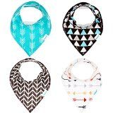 #4: Bandana Baby Bib Set by Bambinio - 4 Unisex Design Drool Bibs for Boys and Girls - Best Newborn and Baby Shower Gift - Soft Comfortable and Adjustable