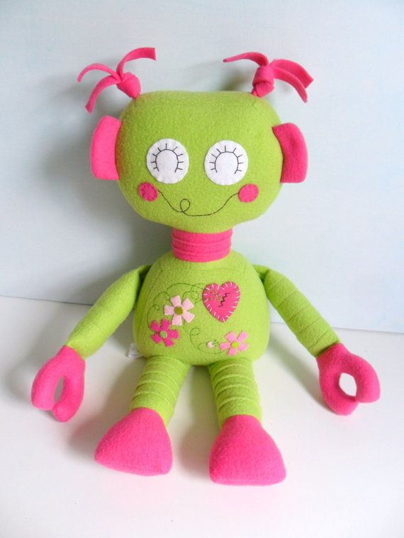 Kids  Baby & Toddler  Stuffed Toy  Rag Doll  Robot by 2dancingdogs, $60.00