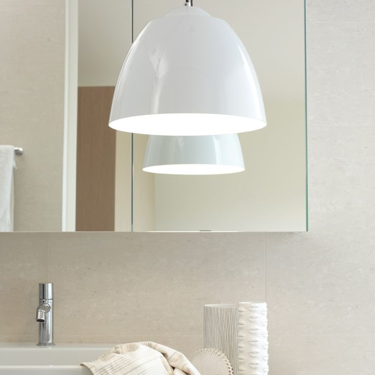Beacon Lighting - Alix modern 1 light 315mm enamalled metal pendant in white with black flex