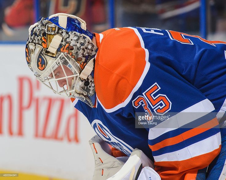 EDMONTON, AB - MARCH 22: A view of the new mask of Viktor Fasth #35 of the Edmonton Oilers during warm-ups prior to an NHL game against the Calgary Flames at Rexall Place on March 22, 2014 in Edmonton, Alberta, Canada. (Photo by Derek Leung/Getty Images)