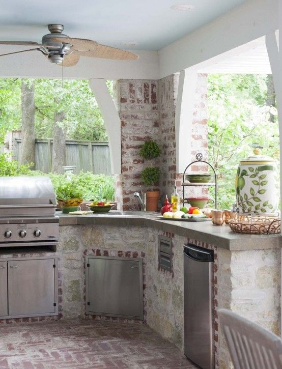 56 Awesome Outdoor Kitchen Designs : 56 Awesome Outdoor Kitchen Designs With White Stone Kitchen Wall Sink Oven Stove Grill Machine Fan Wooden Ceiling And Stone Floor