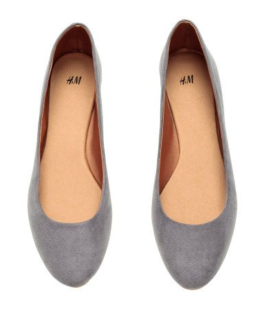 Blue-grey, suede-like ballerina flats. | H&M Shoes