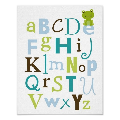 Froggy Frog Boys Alphabet Nursery Wall Art Print