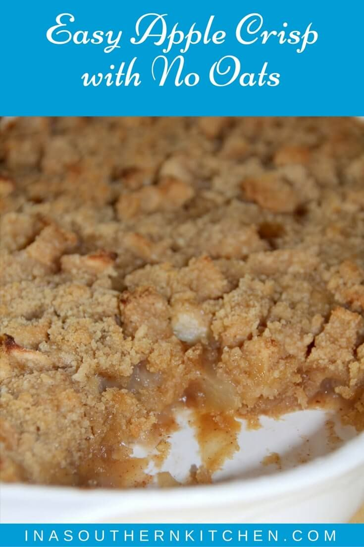 Apple crisp without oats, with a streusel topping that's easy and quick to prepare and full of flavors from brown sugar and cinnamon. via @insouthernktchn