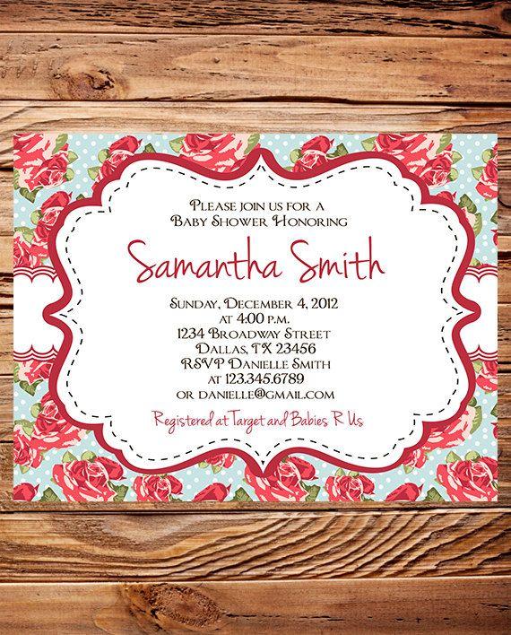 Shabby Chic Red Roses Baby Shower Invitation by StellarDesignsPro, $21.00