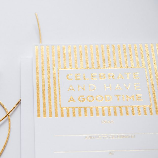 'CELEBRATE STRIPE' Fill-in GOLD Invitations #stationery #gold #invitation #goldfoil #party