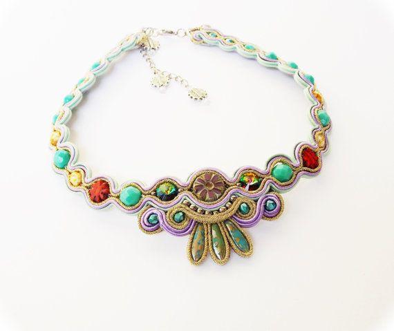 Soutache jewelry Soutache statement necklace OOAK by beadsbyPanka