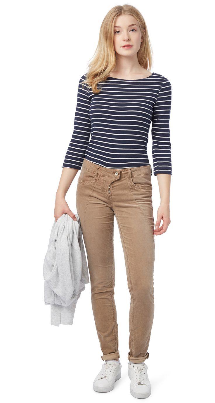 Pantalon en velours plissé - washed velvet slim Alexa de TOM TAILOR