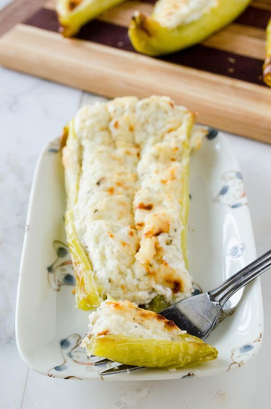 Cheesy Stuffed Banana Peppers (Gluten Free) with greek yogurt