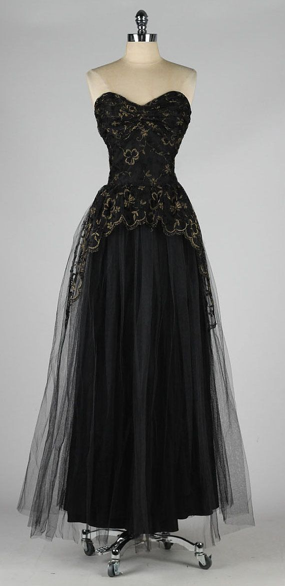 Elegant vintage 1950s black tulle metallic embroidered dress