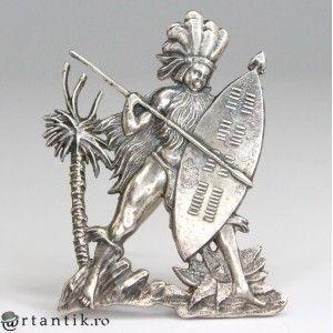 """brosa """"Zulu Warrior"""", din argint. Africa de Sud cca 1940"""